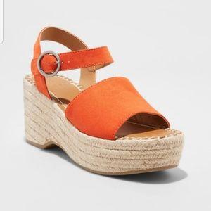 Coral Wedge Heel Espadrille Sandal NWT 6.5 8